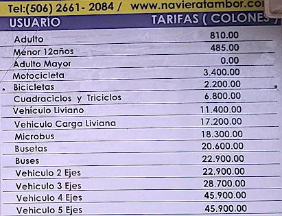 Preise Puntarenas nach Paquerra