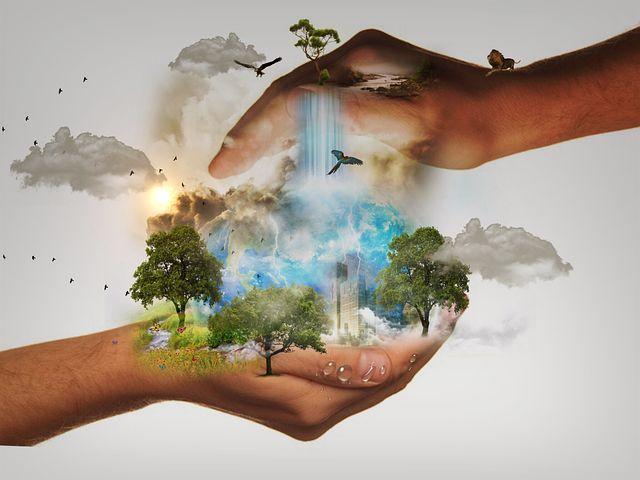 Unsere Hände halten die Welt